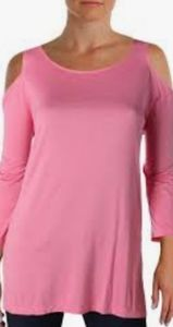NWT Afibi Pink Cold Shoulder Tunic Tee Size XXL